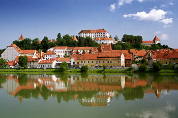 The downtown of Ptuj in Slovenia. Picture take...